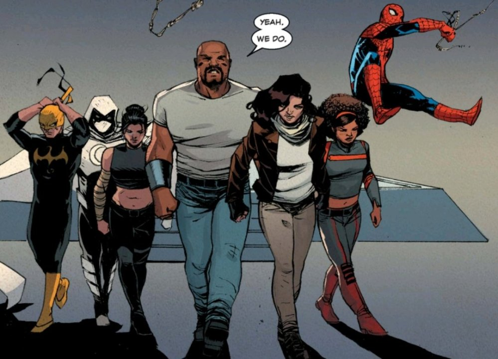 Iron Fist, Moon Knight, Echo, Luke Cage, Jessica Jones, Misty Night, and Spiderman