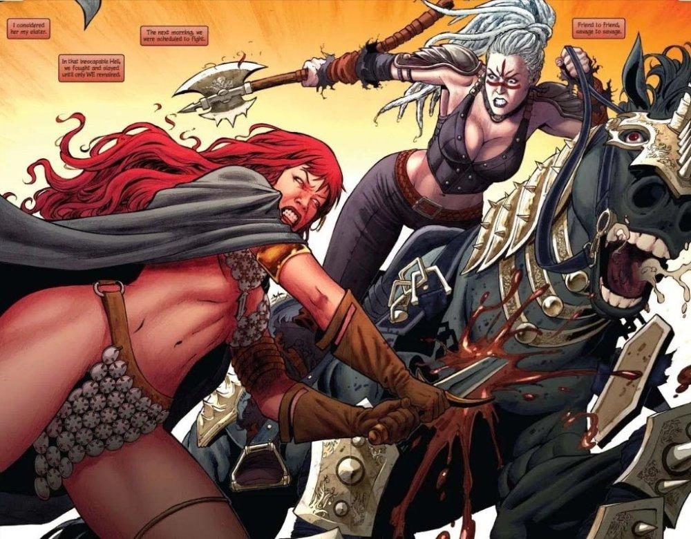 Red Sonja fighting in her chain-mail bikini