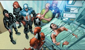 Tony Stark in a coma with other Avengers visiting