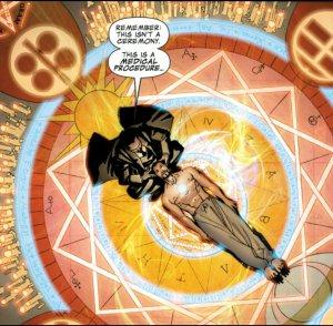 Dr Strange attempting to wake Tony Stark
