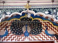 The peacock fresco at the entrance
