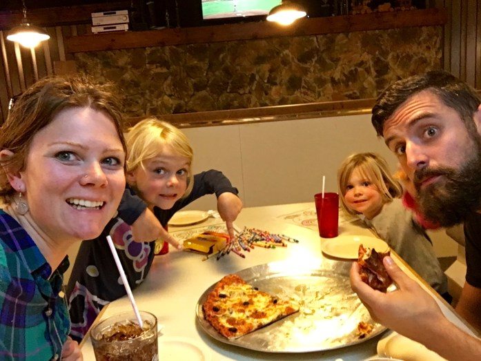 What's perhaps more amazing than the fact we made it this long without eating out on this trip, is that this is Brad's first pizza in a month!
