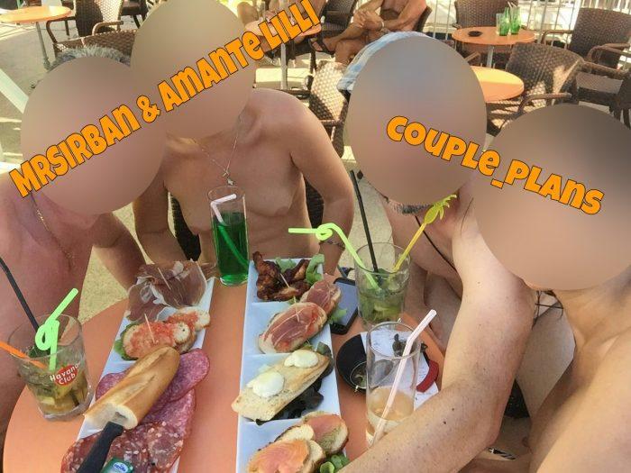 Amante Lilli et MrSirban au Cap d'Agde libertin et exhib avec des amis