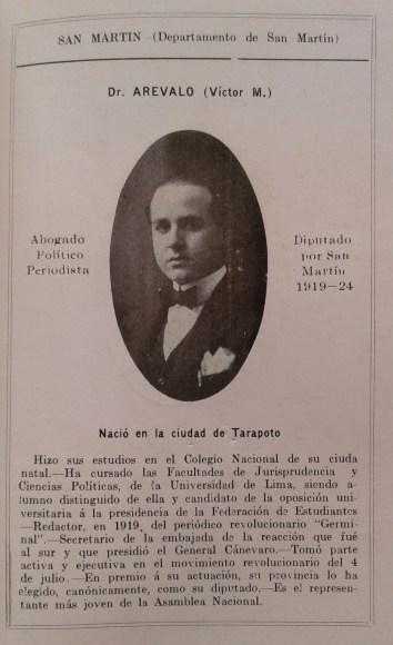 Dr. Víctor Manuel Arévalo, el diputado más joven 1919