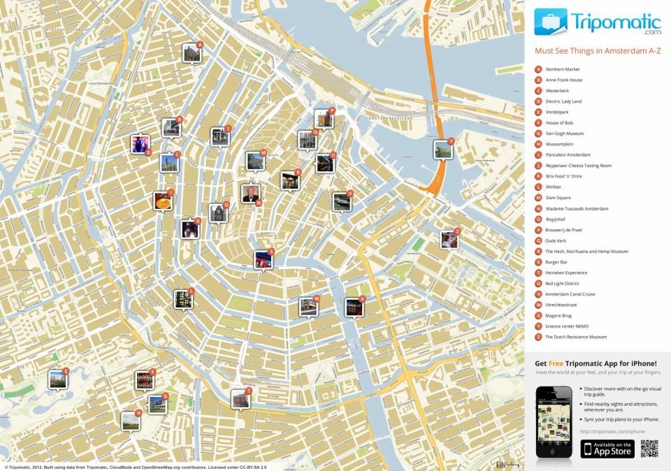 Mapa de Amesterdão com traçado de locais a visitar