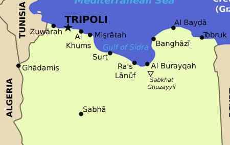 Mapa da Líbia