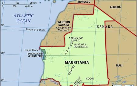 Mapa da Mauritânia