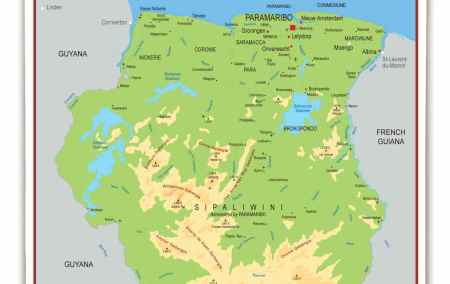 Mapa do Suriname