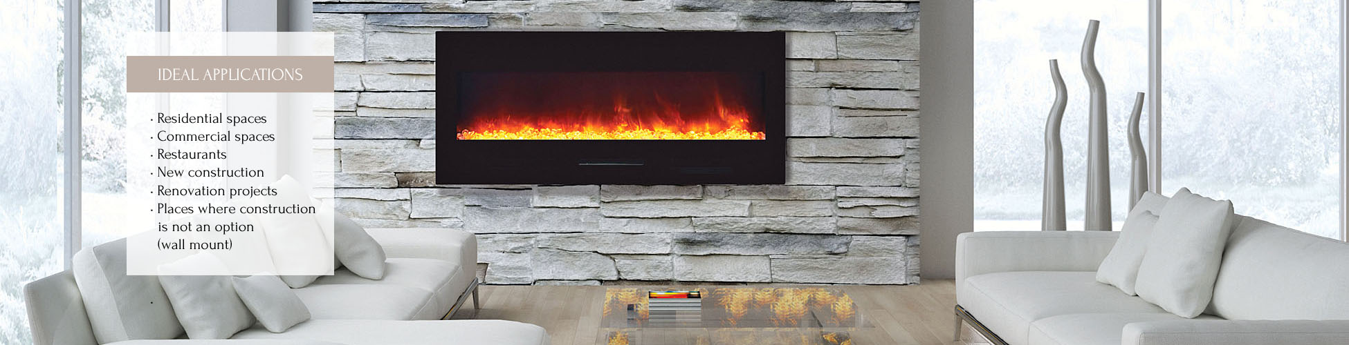 Electric Fireplaces Wall Mount Flush Mount Wm Fm Series Wm-fm-50-bg Electric Fireplace - Amantii Electric Fireplaces