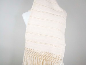 Handmade Mexican Handwoven Shawl Scarf Wrap Beige 100% Cotton