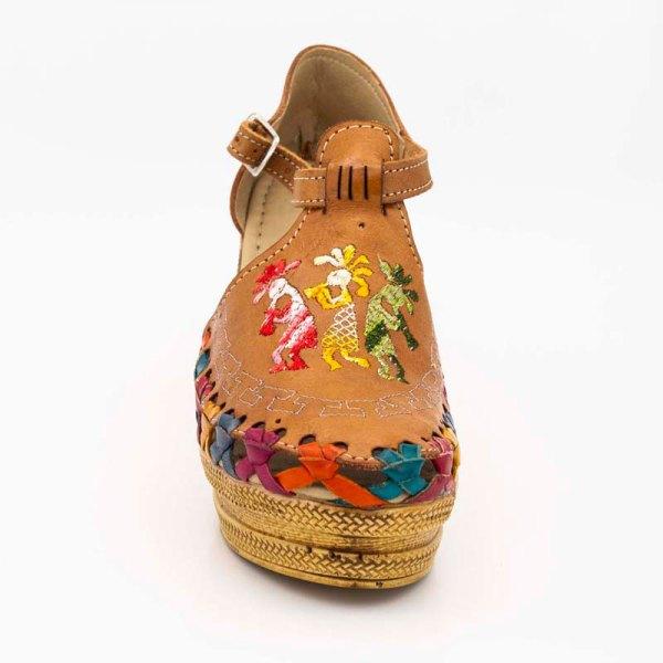 amantli mexican handmade women camelia huarache sandal shoe honey upper view