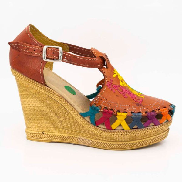 amantli mexican handmade women camelia huarache sandal shoe orange outer view