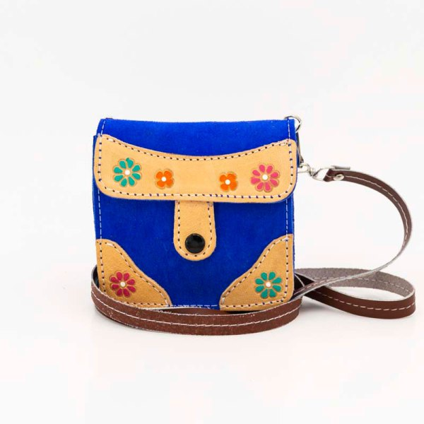 handmade-iris-girls-blue-suede-leather-mexican-handbag-front-view-101
