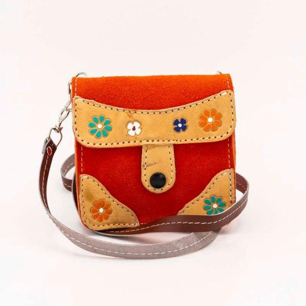 handmade-iris-girls-orange-suede-leather-mexican-handbag-front-view-106
