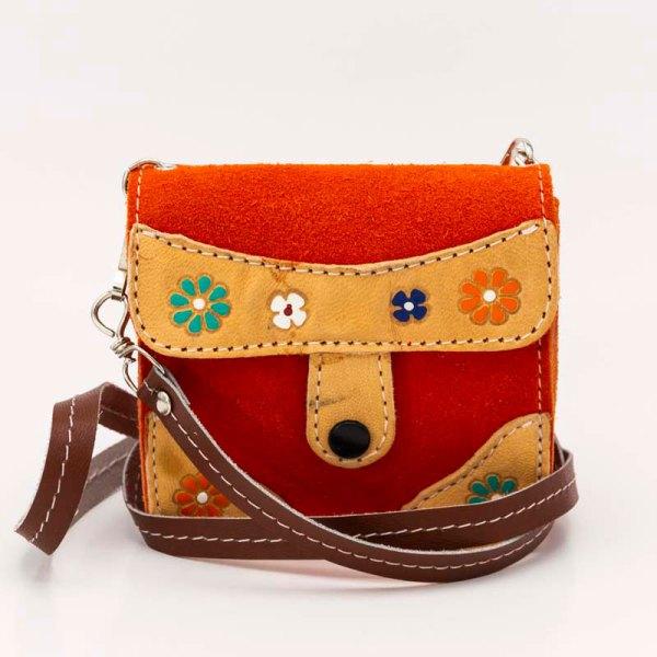 handmade-iris-girls-orange-suede-leather-mexican-handbag-front-view-108