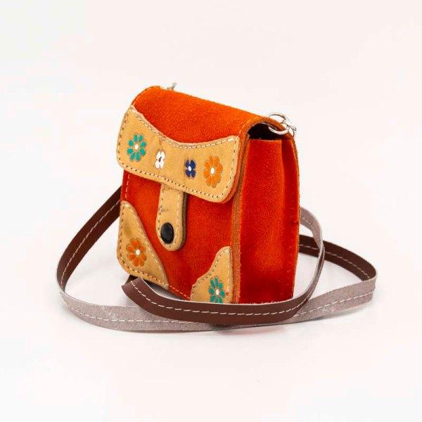handmade-iris-girls-orange-suede-leather-mexican-handbag-front-view-109