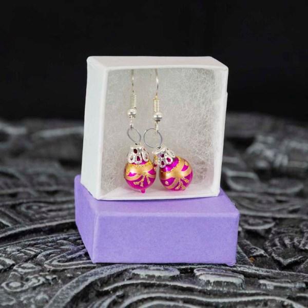 Christmass balls handblown glass pink earrings