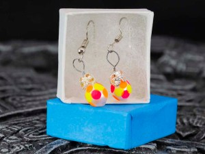 Christmass balls handblown glass yellow orange earrings in a box