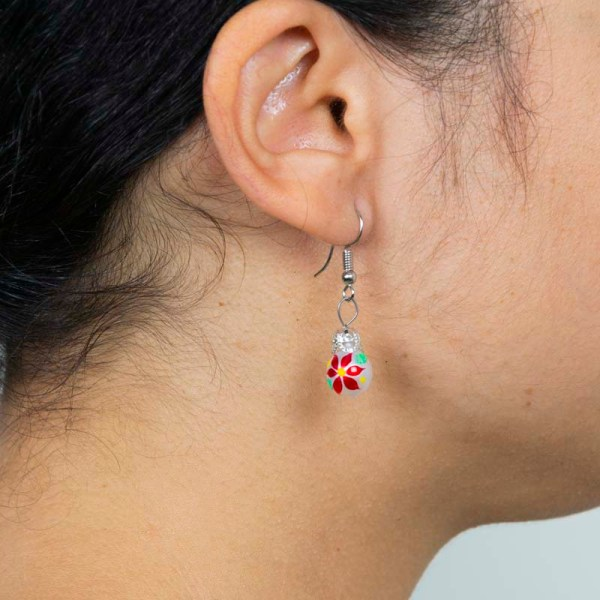 Christmass Poinsettia handblown glass earrings shown in a box