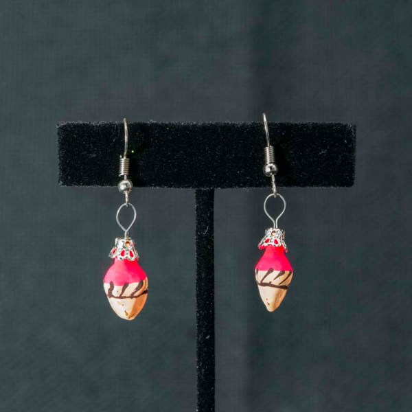 Cute handblown glass pink ice cream cone earrings