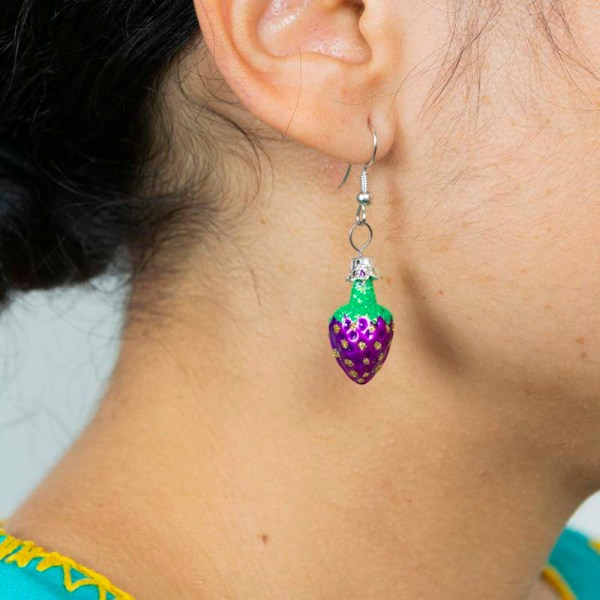 Girl wearing strawberry-hand-blown-glass-purple-earrings-037