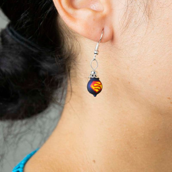 Girl wearing superman-hand-blown-glass-blue-earrings-006