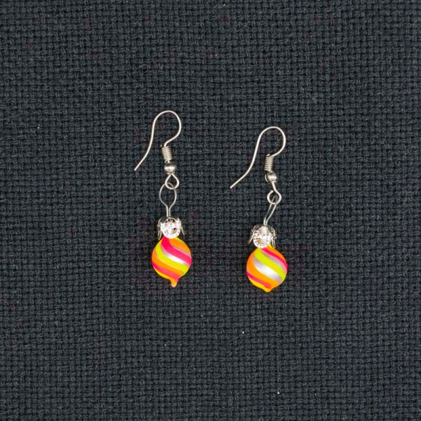 swirl-hand-blown-glass-pink-yellow-orange-earrings-125
