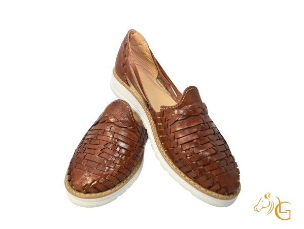 Handmade Traditional Mexican Women Brow Leather Shoes Huaraches -106