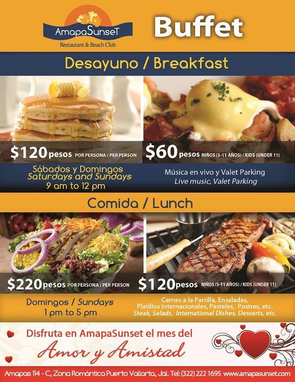 Desayuno y Comida Buffet  Breakfast and Lunch Buffet at