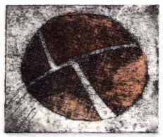 tiny hand painted collograph