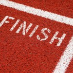 Finish line on red running track