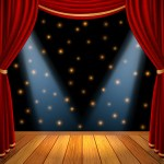 45148556 - empty theatrical scene stage with red curtains drapes and brown wooden floor with dramatic spotlight in the center, stock graphic illustration