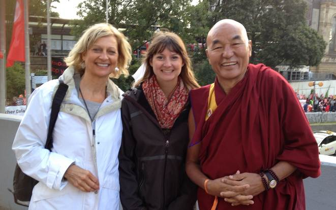 Amara with monk