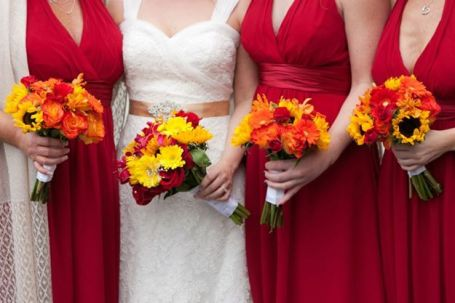 red and white color scheme yellow bridesmaids Amaranth Fllorist