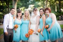 light blue bridesmaid, orange roses bouquet