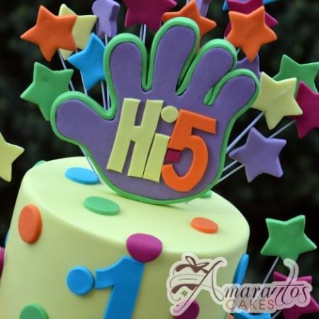 Two Tier Hi 5 Cake - Amarantos Designer Cakes Melbourne
