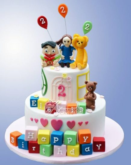 Two Tier Playschool Cake  AC404- Amarantos Custom Made Cakes Melbourne