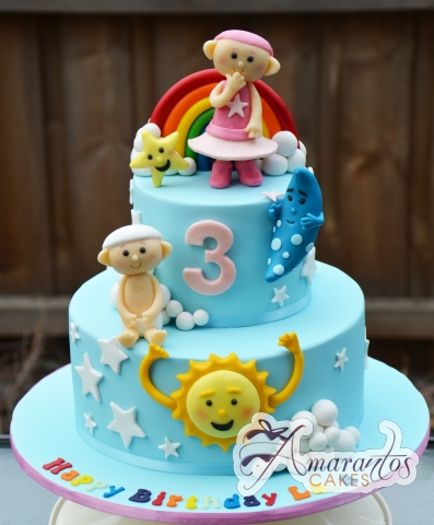 Two Tier Cloud Babies Cake - Amarantos Custom Made Cakes Melbourne