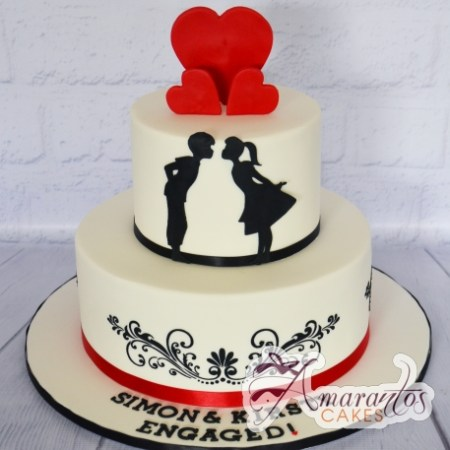 Two tier Engagement cake – AC435