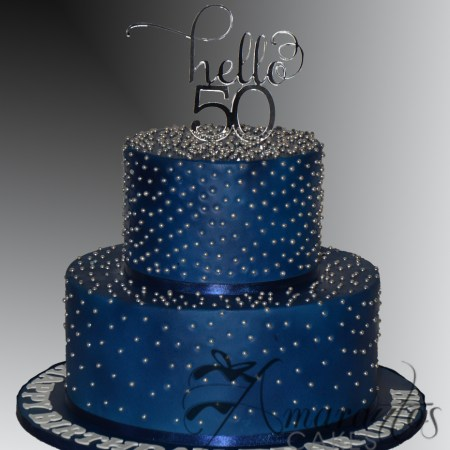 Two tier Navy and Silver Cake – AC524