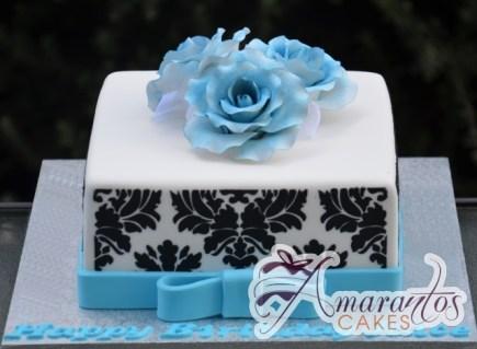 Square With Damask and Roses Cake - Amarantos Designer Cakes Melbourne