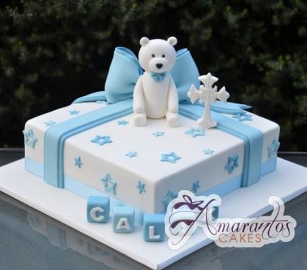 Baby Boy Birthday Cake with Teddy Bear - Amarantos Cakes Melbourne