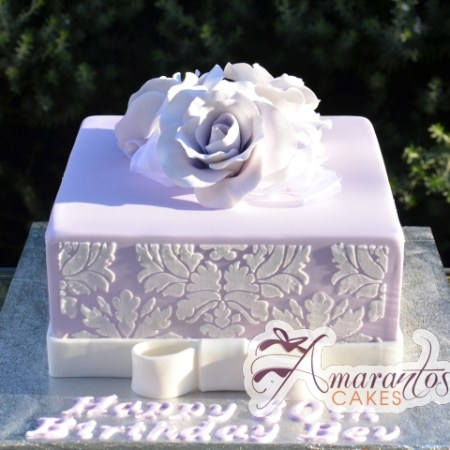 Square with damask and roses- CC57