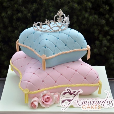Two Tier Pillow Cake with Tiara - Amarantos Designer Cakes Melbourne