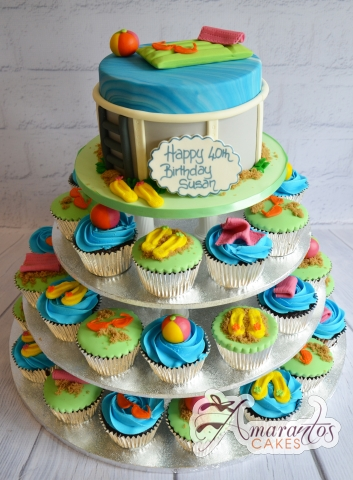 Pool Party Cup Cake Tower- Amarantos Designer Cakes Melbourne