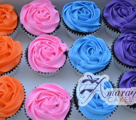 Multi-Coloured Rose Cupcakes - Amarantos Designer Cakes Melbourne