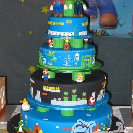 four tier super mario cake