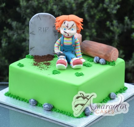 Grave Site with Chucky Cake - Amarantos Custom Made Cakes Melbourne