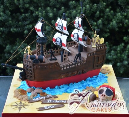 3D Pirate Ship Designed Cake - Amarantos Custom Made Cakes Melbourne
