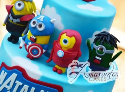 Avengers Two Tier Minion Designer Cake - Amarantos Designer Cakes Melbourne